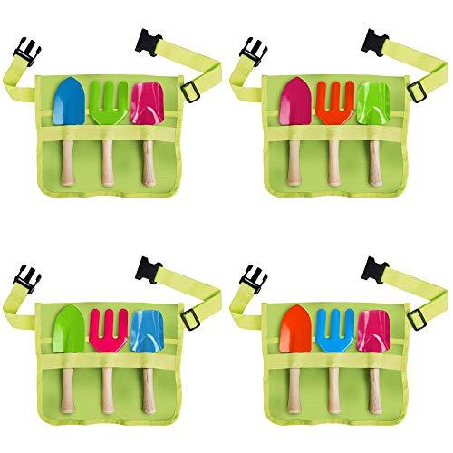 Esschert Design Kindergürtel mit Gartengeräte, Harke/Schaufel/Hand-Spaten, farbig Sortiert, Farbwahl Nicht möglich, mit Schnallen-Verschluss, Werkzeug