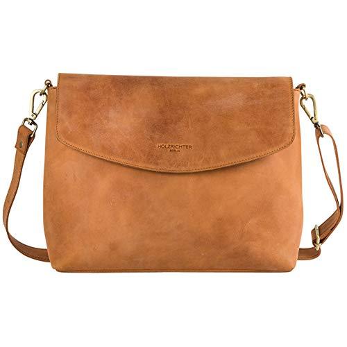 HOLZRICHTER Berlin Umhängetasche (L) - Elegante Handtasche & Schultertasche Aus Leder - A4 Größe - Camel-Braun
