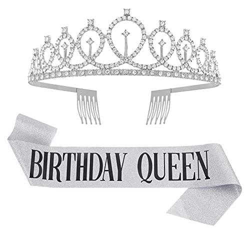 Heyu-Lotus Banda de cumpleaños y tiara – Decoración de cumpleaños para niñas, corona de diamantes de imitación para cumpleaños de reina, juego para niñas y mujeres, fiesta de cumpleaños (plata)