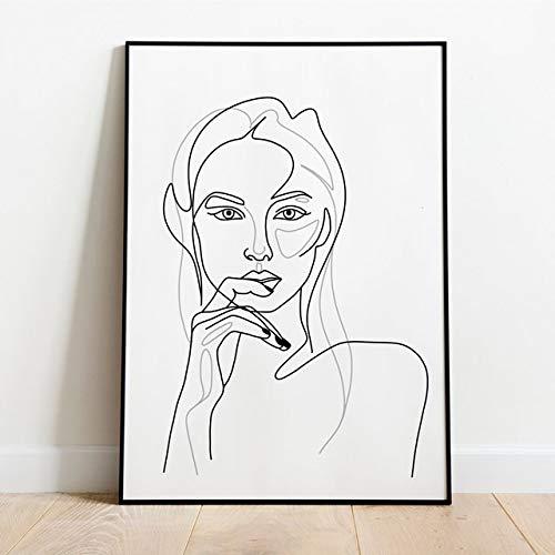 JXMK Cartel nórdico decoración de la Sala de Estar Pintura Pintura de Pared Cartel Arte Lienzo Pintura Mano Chica línea Pintura Pintura 40x50 cm sin Marco