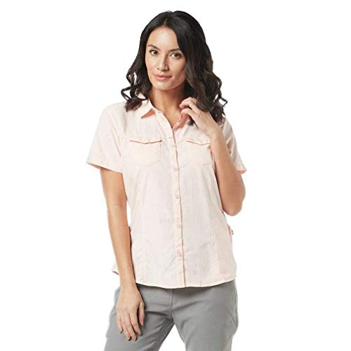 Craghoppers W NosiLife Adventure II Kurzarm Bluse Pink, Damen Daunen Hemd, Größe 44-18 - Farbe Seashell Pink