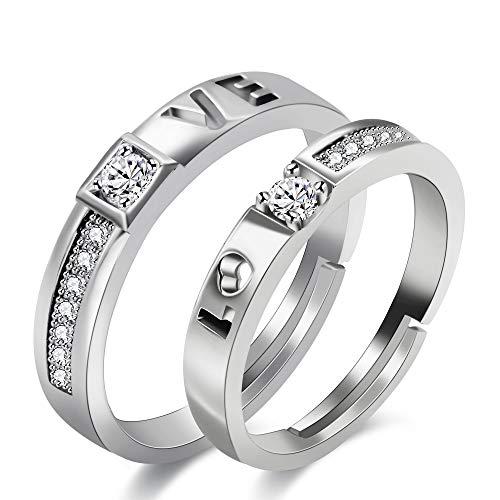 Uloveido Chapado en oro blanco Doble amor hueco Rompecabezas inicial Alianza de boda Juego de anillos de promesa ajustables para mujeres y hombres Regalos de aniversario para esposo y esposa LB022