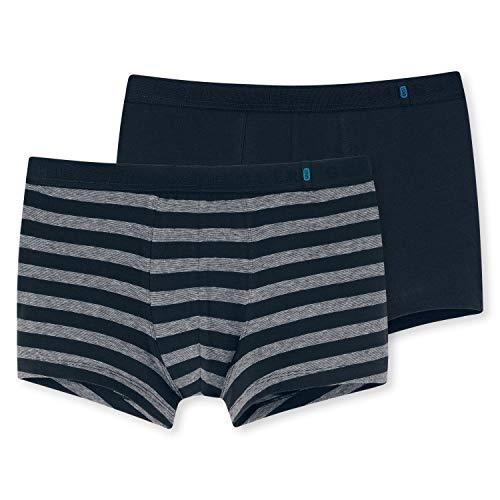 Schiesser Herren Boxershorts  95/5 Shorts, 2er Pack, Mehrfarbig (Nachtblau-Grau 901), 2XL (Herstellergröße: 8)