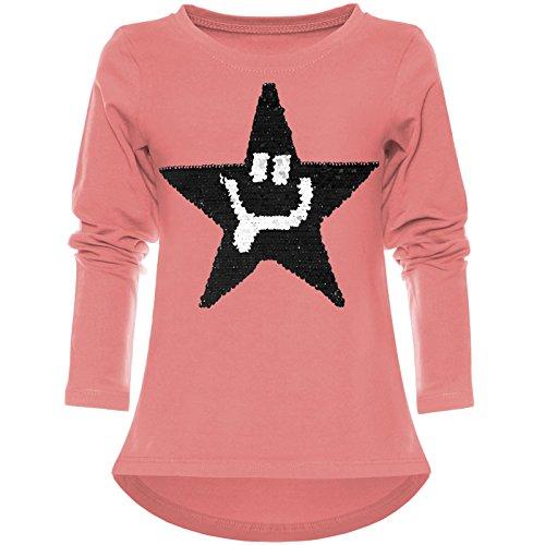 BEZLIT Mädchen Wende-Pailletten Shirt Süßem Motiv 21897 Lachs Größe 140