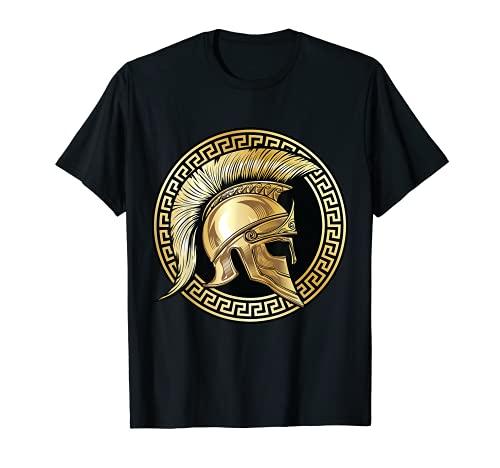 Casco Espartan Gold Gladiator Sparta Greek Gym Workout Camiseta