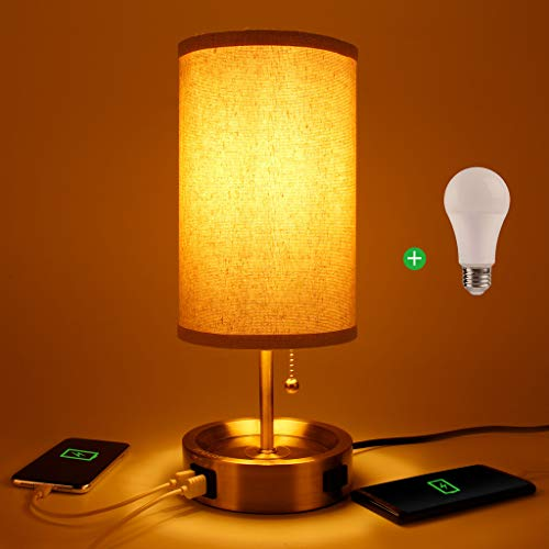 USB Bedside Table Lamp - Inno Casa Round Fabric Shade Desk Lamp Modern Nightstand Lamp with Dual USB Charging Ports 1 AC Outlet, Perfect for Bedroom, Living Room, Study Room