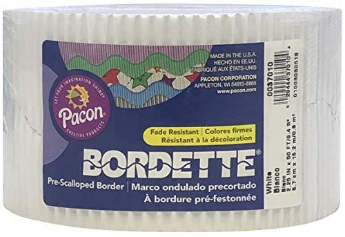 """Bordette Scalloped Decorative Border P37014, 2-1/4"""" x 50', White, 1 Roll Photo #2"""
