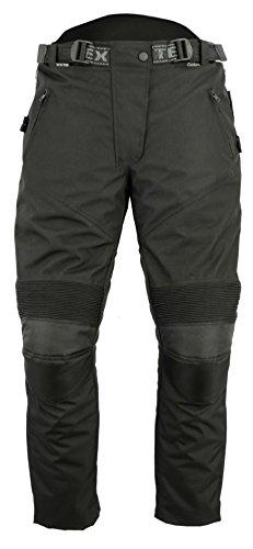 Texpeed Pantalones de motorista para mujer - Con protector homologado por la CE - Impermeables - Cordura - Negro - W34 - UK 14 Regular