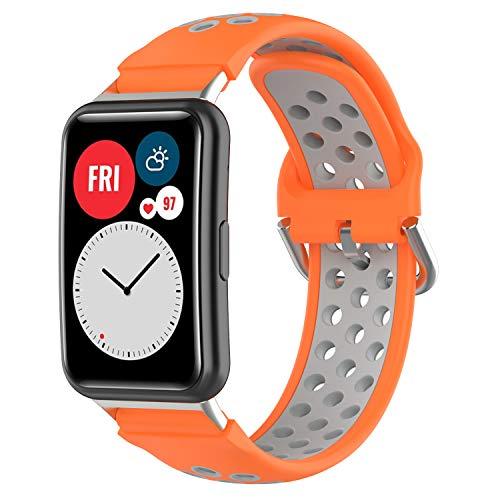 Braleto Correa de Reloj Compatible con Huawei Watch Fit, Banda de muñeca Suave y Transpirable Silicona, Deportiva Ajustable Pulsera Accesorios (Gris Anaranjado)