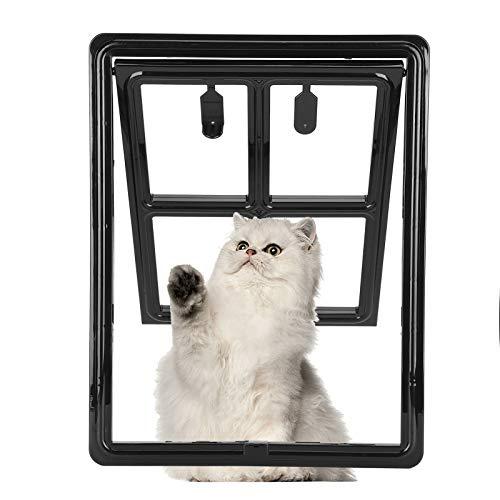 JULYKAI Kleine Hundetür, Feste Haustiertür, langlebig für kleine Hunde Haustier Kleiner Katzenwelpe(Black, Large)