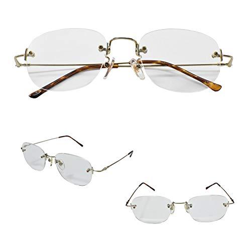 PrePiar 老眼鏡 非球面 ふちなし フレームレス シニアグラス ケース付き レディース メンズ ユニセックス [PrePiar](デミブラウン,+2.0)