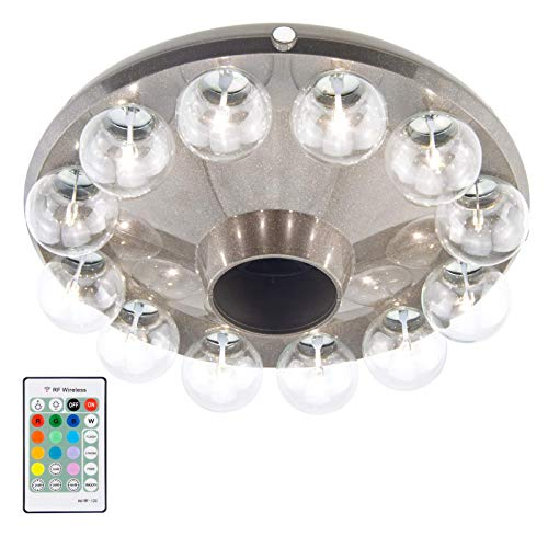 HONWELL Patio Umbrella Light,12 LED Glass Bulb 3D Battery Operated Umbrella Pole Light with RF Remote 80Ft Through Walls,4 Modes,12 Color Changing Outdoor Camping Light with Hanging Ring for Umbrella