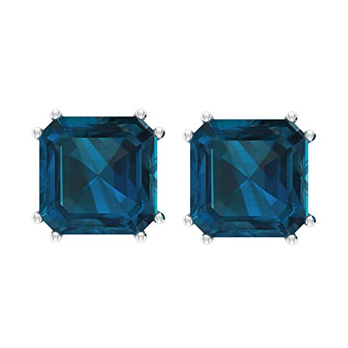 8.5Ct Certified Blue Topaz London Stud Earring, Classic Women Solitaire Gold Earring, Asscher Cut Gemstone Partywear Earring, Statement Bridal Earring, 18K Yellow Gold, Pair