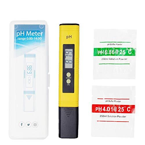 Pantalla Digital de Mano PH Tester, Calidad del Agua Medidor de Prueba con Rango de Medición de pH de 0-14 PH Medidor de Digital Portátil de Alta Precisión para Acuarios, piscinas, Auto Calibración