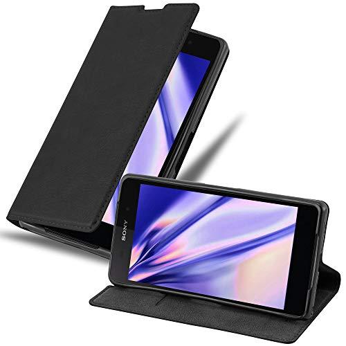 Cadorabo Hülle für Sony Xperia Z2 in Nacht SCHWARZ - Handyhülle mit Magnetverschluss, Standfunktion & Kartenfach - Hülle Cover Schutzhülle Etui Tasche Book Klapp Style
