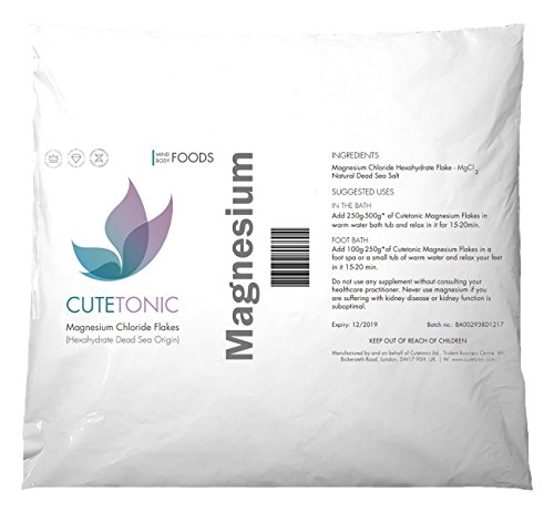 Cutetonic Hojas de cloruro de magnesio (Magnesium Chloride Flakes) ultra puro, origen del mar muerto (en bolsa) (1KG)