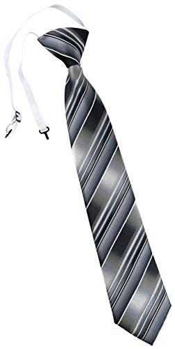 TigerTie Kinderkrawatte in grau silber anthrazit hellgrau gestreift - Krawatte vorgebunden mit Gummizug