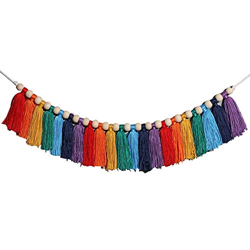 XXXXW Northern European Tapestry Nordic Macrame Rainbow Rope Woven Tassel Wall Hanging Tapestry 10x210cm Ornaments Girls Room Nursery Decoration Tapestry Wall Hanging for Room