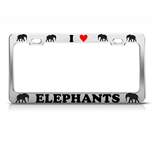I Love Herz Elefanten Metall Chrom Kennzeichenrahmen Tier Liebhaber Tag Bordüre Perfekt für Männer Frauen Auto Garadge Dekor