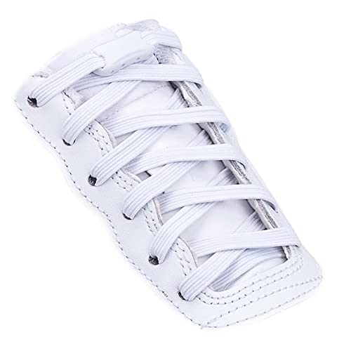 Booyckiy No Tie Elastic Shoelaces for Kids, Adults and Elderly, Adjustable Tieless Shoe Laces for Sneakers Boots and Casual Shoes - 16 Colors, 41 inch, White