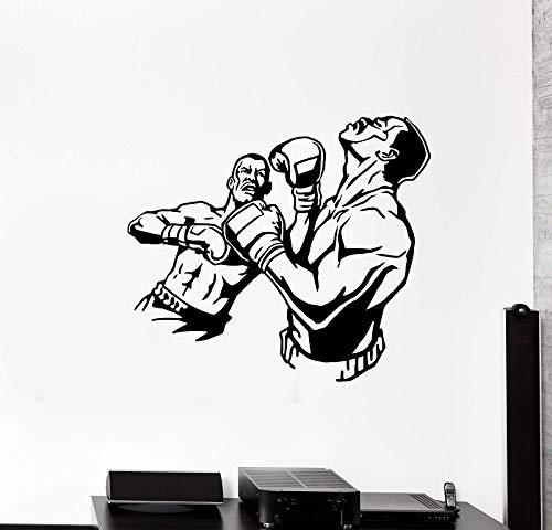 JXND Vinilo Tatuajes de Pared Fight Boxing Knockout Sanda Sports Boxing Gym Training Hall Decoration 86x75cm
