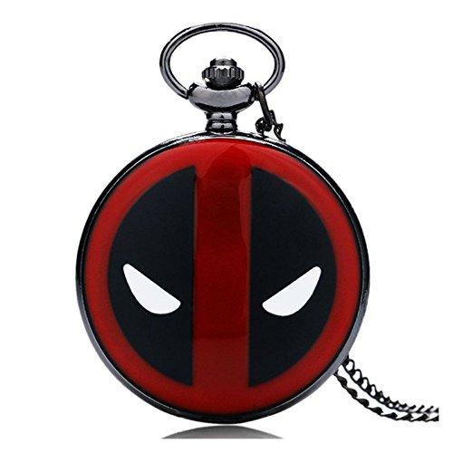 Deadpool VS Spiderman Herren-Quarz-Taschenuhr mit rotem und schwarzem Gehäuse, mit 80 cm langer Kette