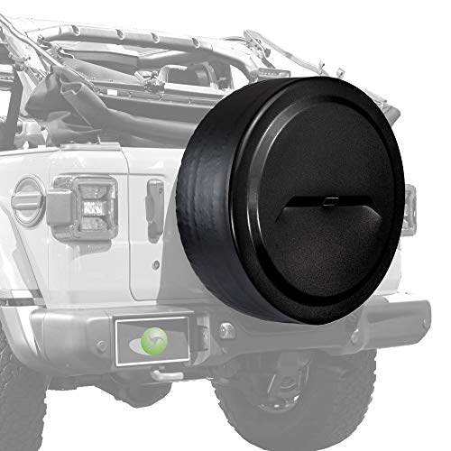 "Boomerang - 32"" Rigid JL Tire Cover (Plastic Face & Vinyl Band) for Jeep Wrangler JL (with Back-up Camera) - (2018-2020) - Black Textured"