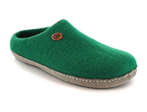 WoolFit Footprint - Unisex Barfuß-Hausschuhe aus 100% Wolle - handgefilzte Pantoffeln mit Flexibler Ledersohle & selbstformendem Fußbett, grün, Größe 42