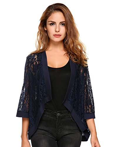 Zeagoo Women's Cute Blue Shawl Cardigans Beach Oversized, Navy Blue, X-Large