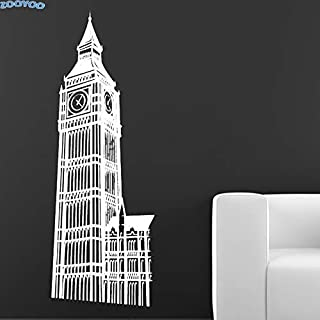 Famoso Big Ben Wall Sticker London Landmark Building Decoración Para El Hogar Sala De Estar Tatuajes De Pared Vinilo Extraíble Arte De La Pared Mural 87 X 30Cm