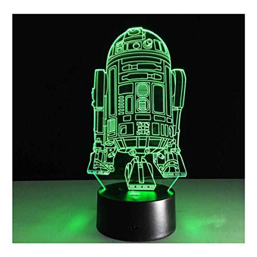 3D Illusion LED Night Light/Childrens Lamp. Dinosaur, Pepp Pig, Car, Star, Pikachu Style, Marvel Style, Unicorn, Headphones. 7 Colours USB Character Light (R2D2 Style)