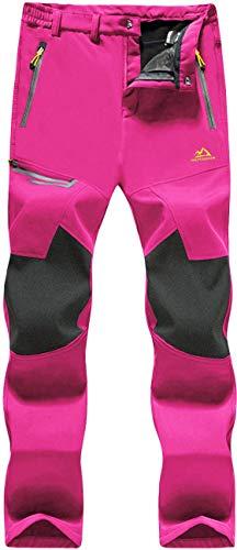 TACVASEN Pantaloni da Sci per Donne Impermeabile Pantaloni Da Trekking Inverno Pantaloni In Pile Neve Sci Arrampicata Snowboard Pantaloni Rosa Rosso