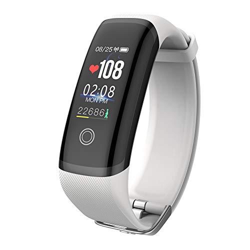 OOLIFENG Smartwatch Armband, wasserdicht, Fitness-Tracker, Aktivitätstracker mit Herzfrequenzmesser, Schrittzähler, Kalorienzähler für iOS Android, weiß