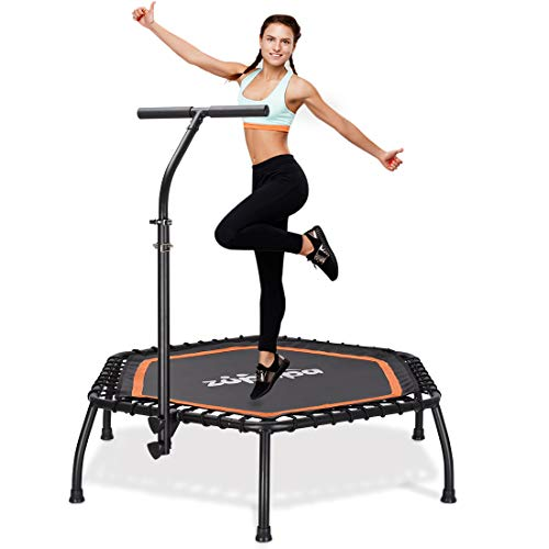 "Zupapa 45"" Silent Mini Fitness Trampoline with Adjustable Handrail Bar – Indoor Rebounder for Adults – Best Urban Cardio Jump Fitness Workout Trainer – Max Limit 330 lbs, Hexagon"