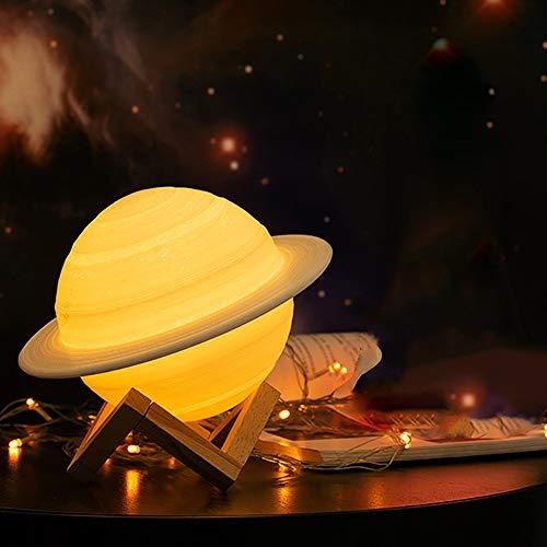 Saturn Lampe 3D-Druck wie Mond-Lampe, Nachtlicht, 16 Farben, Fernbedienung und Touch-Steuerung, Nachttischlampe, sicheres Nachtlicht für Kinder, Frauen, Mädchen, Familie, Geburtstagsgeschenk
