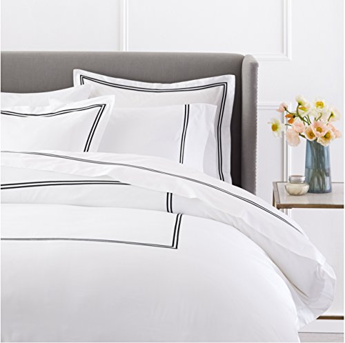 Pinzon 400 Thread Count Egyptian Cotton Sateen Hotel Stitch Duvet Cover - Full or Queen, Black