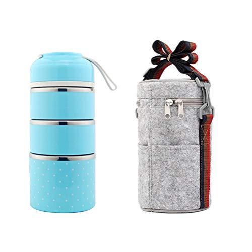 BESTONZON 2 Stück Edelstahl Thermo-Lunchbox 3 Etagen Isolierte Lebensmittelbehälter Lebensmittelbehälter mit Seilgriff Tasche für Kinder Erwachsene Camping Picknick Reisen (blau)