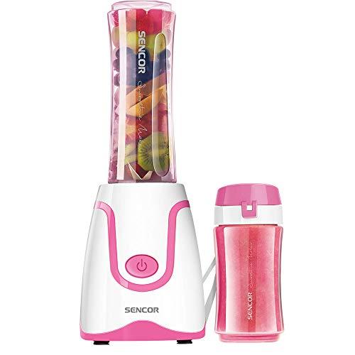 Sencor SBL2208RS 300W Smoothie Blender with 2 Impact Resistant BPA Free Bottles, Pink