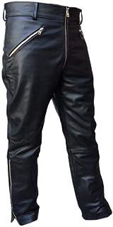 Mens Real Black Leather Pants Motorbike Rider Trouser Biker Breeches Jeans for Men