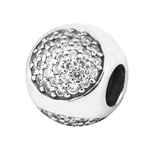 Joyería De Plata De Ley 925 para Mujer Cuentas Deslumbrantes con Dijes Transparentes Se Ajustan A Pulseras Pandora Europeas Collares Fabricación De Joyas DIY