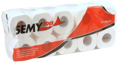 Semy Top Toilettenpapier 4 lagig 150 Blatt hochweiß, 4er Pack (4 x 10 Stück)