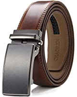 Chaoren Leather Ratchet Dress Belt 1 3/8 with Click Slide Buckle, Adjustable Trim to Fit in Gift Box