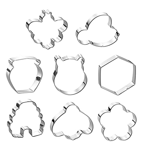 8 Pieces Bee Cookie Cutters Shape Set - Including Bee, Beehive, Flower, Honeycomb,Bear and Honey Jar Stainless Steel Biscuit Cookie Cutters for Home Party Decoration