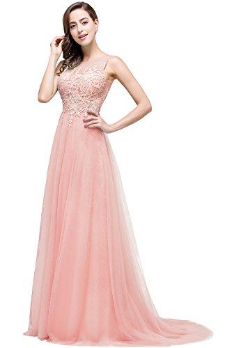 Altrosa Damen Sommer V-Ausschnitt Spitzen Ballkleid Cocktailkleid Langes Abendkleid  38