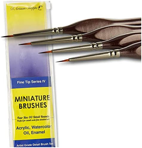 Fine Tip Paint Miniature Brushes 4pc Round 00 Detail Paintbrushes Set for Acrylic Watercolor product image