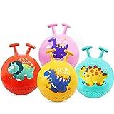 IIIL 4 Piezas Pelota Saltar Hinchable Hopper Ball Pelota Salto Niños Hinchable Juguete Inflable, con Mango, Pelota Juguete Hinchable 13,5 Pulgadas, Regalos para Niños, Niños Y Niñas, con Bomba