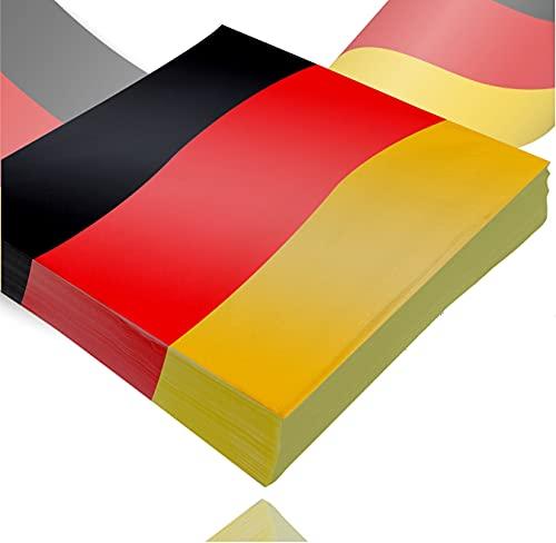 TK Gruppe Timo Klingler 20x Servietten Deutschland schwarz, rot, gelb (Gold), als Deko, Dekoration, Partydeko für Fußball, Fußball Europameisterschaft EM 2021