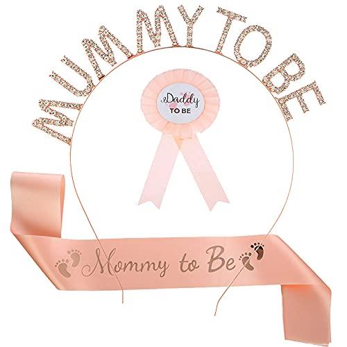 3 Piezas de Papi y Mami para ser Placa de Hojalata Pin Género Revelar Botones BandaTiara de Futura Mamá New Daddy Mom Regalos para Baby Shower Fiesta de Celebración 🔥