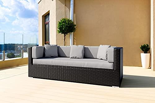 OUTFLEXX Lounge-Sofa, Dreisitzer aus schwarzem Polyrattan, 210x85x70cm, inkl. wasserabweisende Polster + Kissenboxfunktion, hochwertige Polyrattan Bank/ Garten-Couch, wetterresistent, UV-beständig