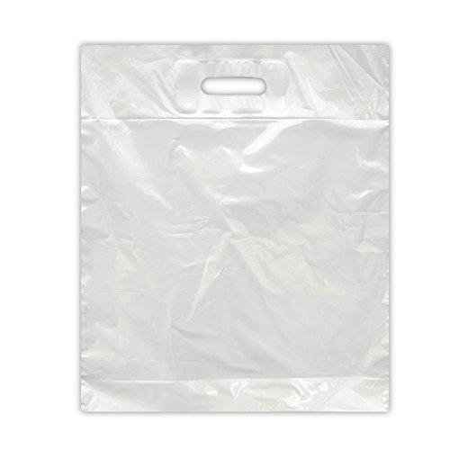 125x Folientaschen 37x44+2x4 weiss   DKT Griffloch   Plastiktasche geklebtes Verstärkungsblatt   Plastiktüten in 37x44+2x4 cm   HUTNER